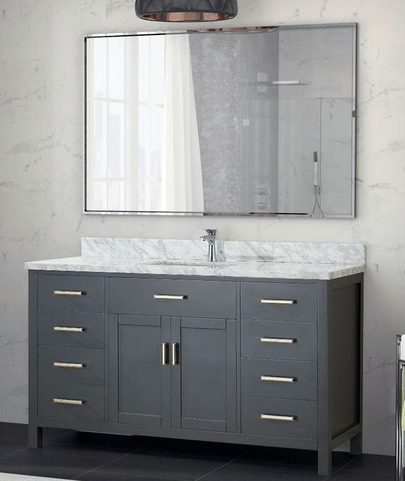 Art Kelia 60 Inches Single Sink Bathroom Vanity Pepper Gray Finish