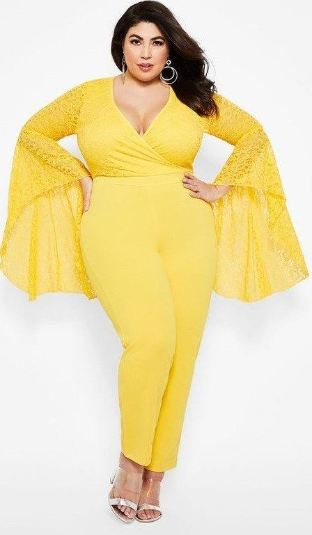 6c3720e6c4fe Plus Size Yellow Long Bell Sleeve Jumpsuit for Women | Romantic yellow lace  covers the wrap