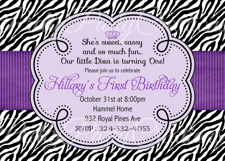 PURPLE ZEBRA invitation - birthday, baby shower - YOU Print ...