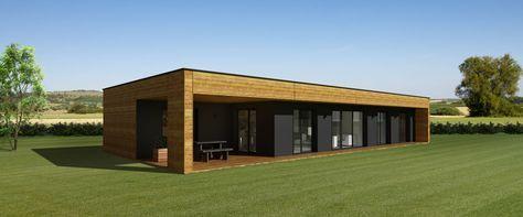 photo de maison kit bois de rêve toit plat | Maison ossature ...