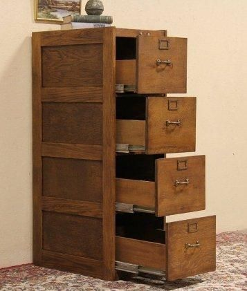 Superbe 4 Drawer Wood File Cabinet