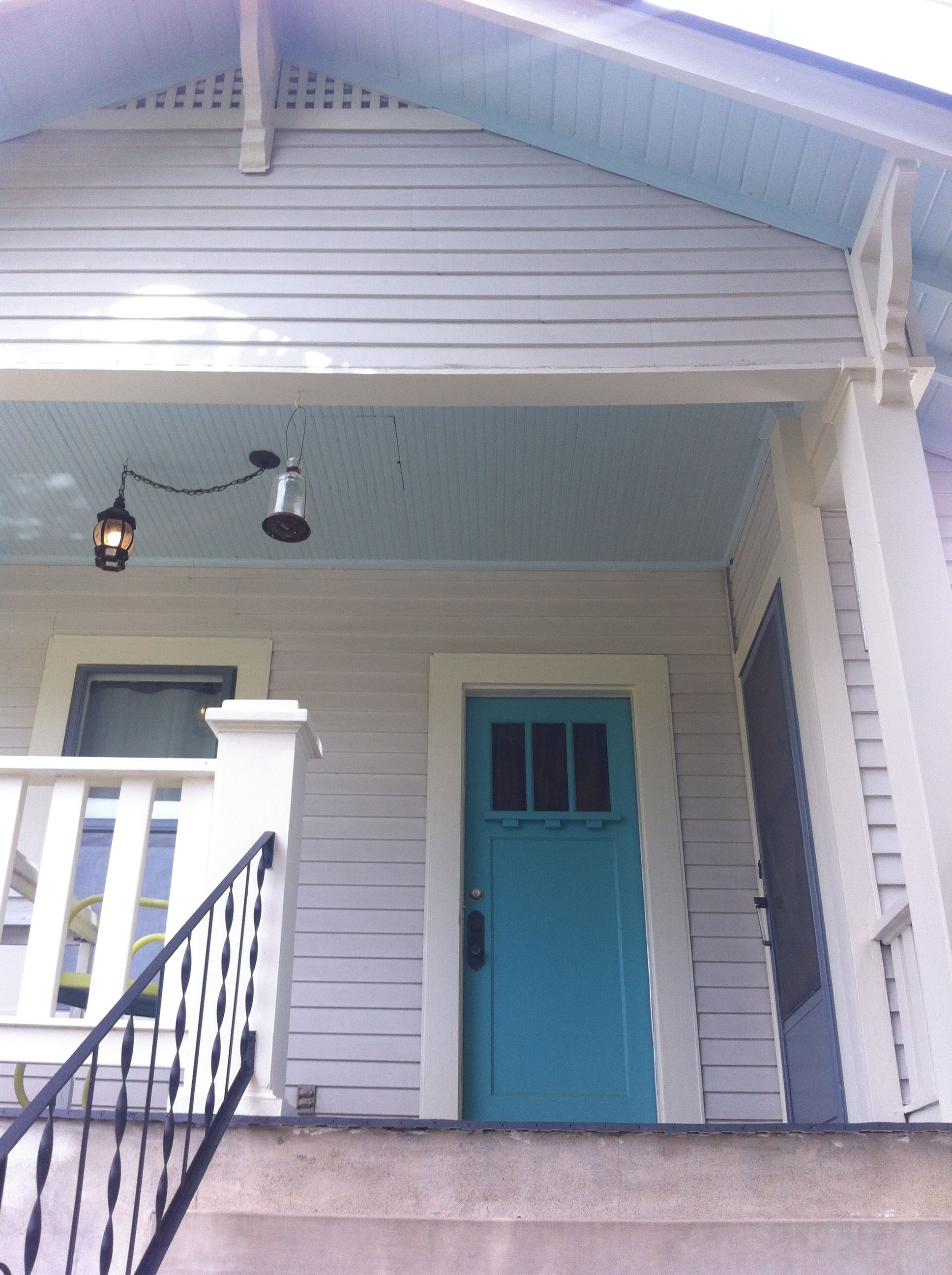 Light Gray Almost White House Turquoise Door With Pale Blue Porch Ceiling House Exterior Blue Porch Ceiling Turquoise Door