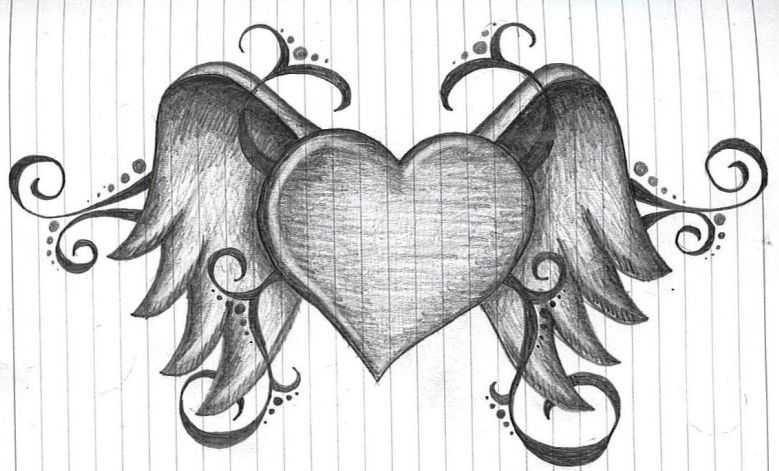 Heart Drawing heart with wingsamanda11404.deviantart on @deviantart