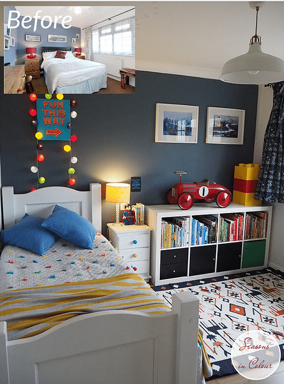 Kids Room Makeover In Blue And Red Boy Toddler Bedroom Toddler Boys Room Boys Bedroom Decor