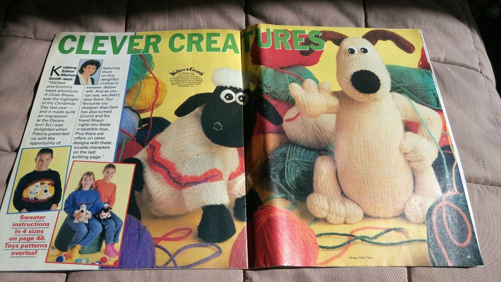 Wallace, Gromit & Shaun the Sheep vintage knitting pattern pullout ...