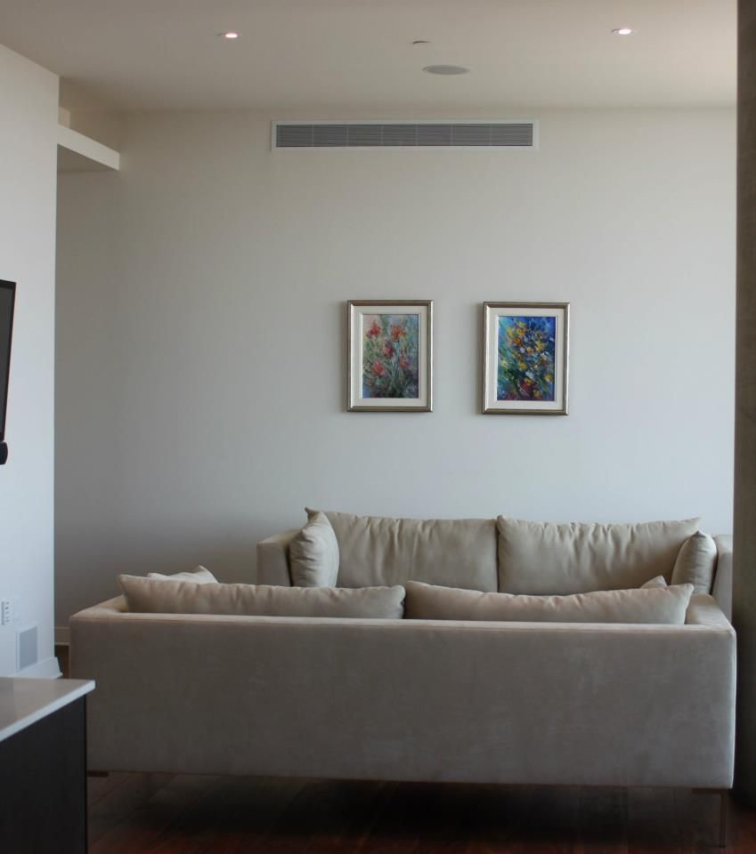 Modern Condo Design With Columns: BEFORE Shot.. Austin, Texas