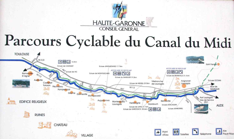 canal du midi en vélo carte Parcours cyclable du Canal du midi – de Toulouse à Naurouze | Velo