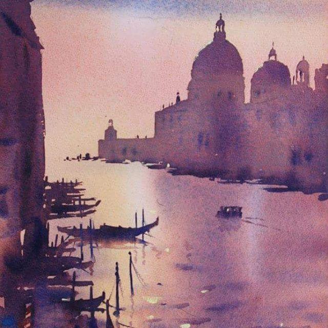 Venice At Dusk Venice Veniceart Watercolour Australianartist