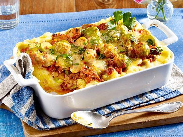 Photo of Brussels sprouts mince bake on mashed potato recipe DELICIOUS