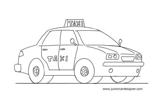 Easy Car Drawing Tutorial For Kids Taxi Cab Taxi Drawing Easy