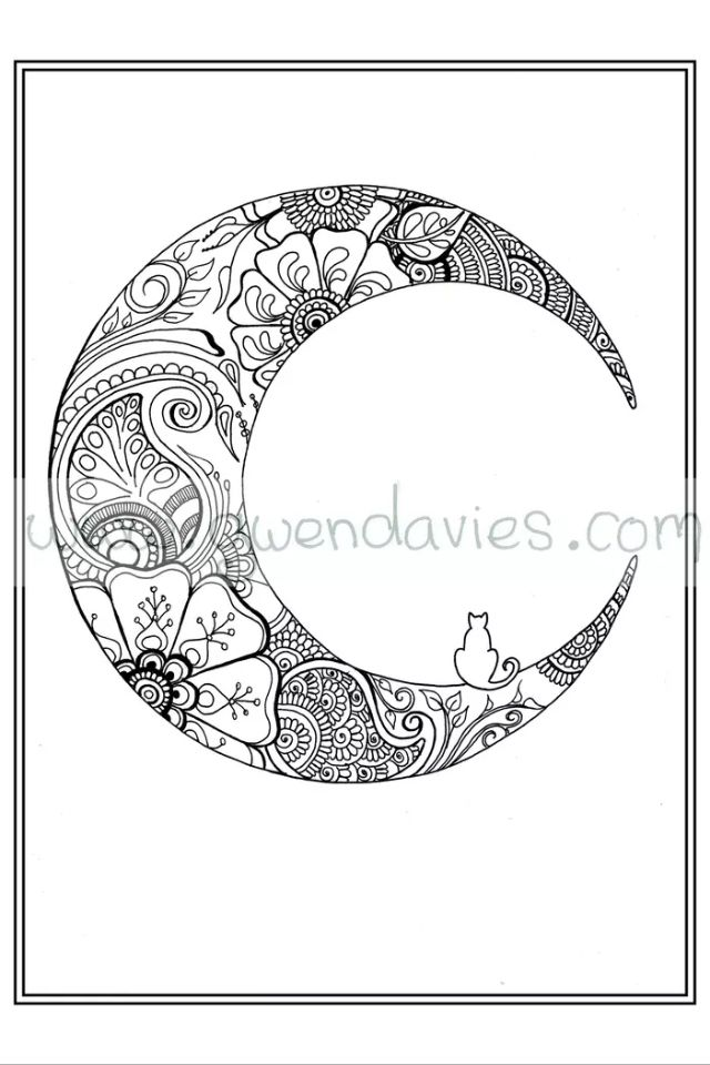 Moon Design I Found Online Moon Coloring Pages Mandala Coloring Pages Marquesan Tattoos