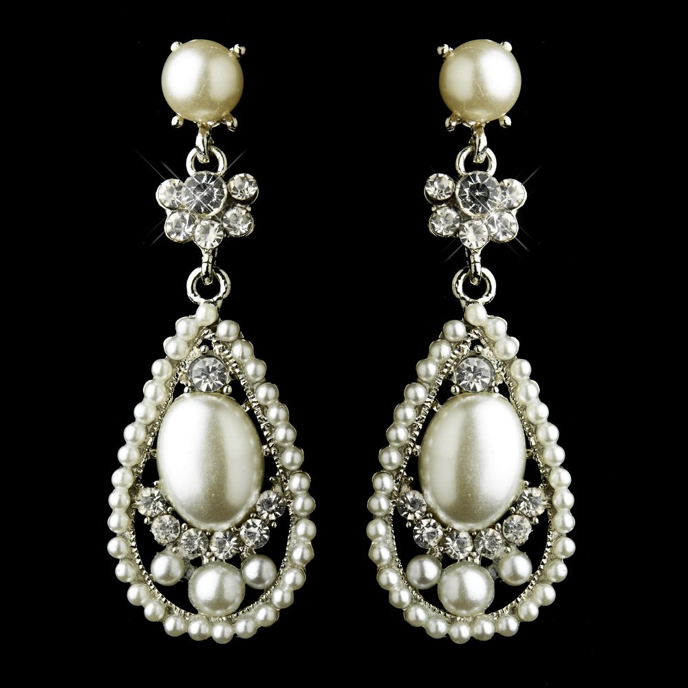 Wedding Vintage Earings Antique Silver Clear Rhinestone Diamond White Pearl Bridal Earrings
