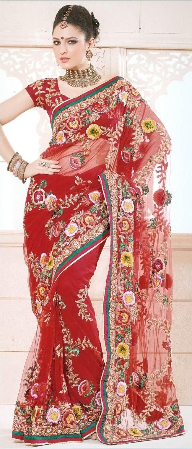 Dark #Orange Net #Saree with Blouse @ $311.29 | Bridal Sarees Online ...