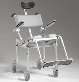 Nuprodx Multichair 4000Tilt Tilting Wheeled Shower Chair Provides Support For Those Without Trunk Strength