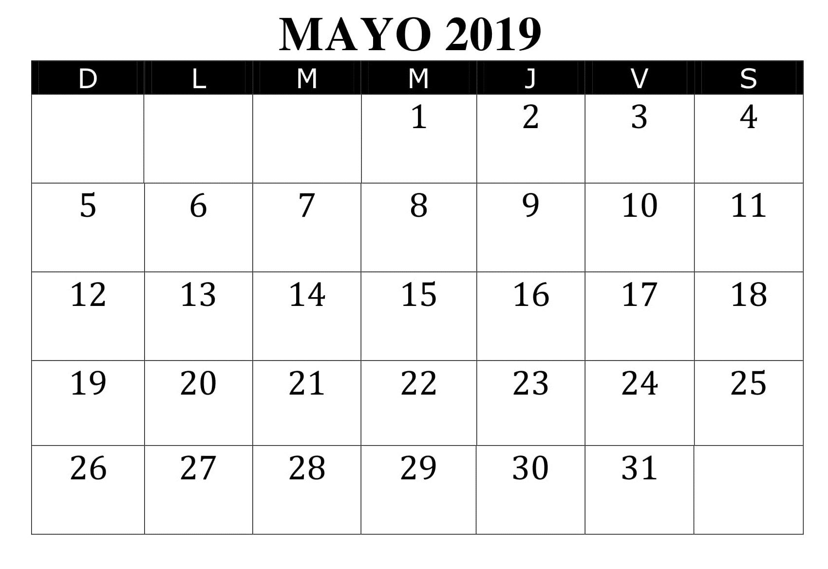 Calendario Mayo 2019 Argentina Pdf Printable Calendar Calendar