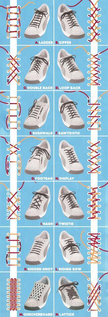 14 ways to tie shoelaces via #cuartoderecha very handy indeed!