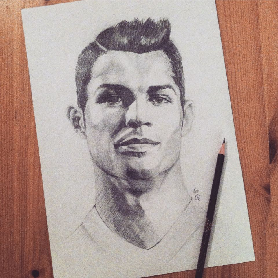Pencil portrait cristiano ronaldo my painting illustrations in