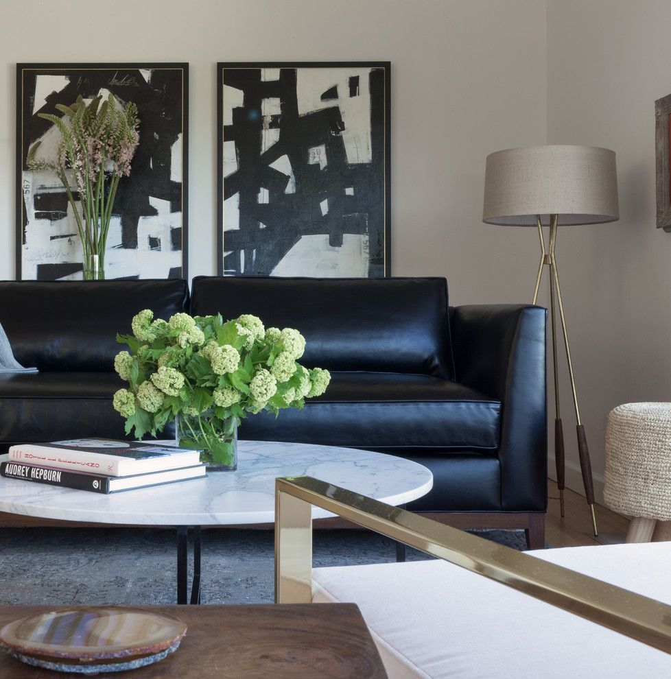 black leather sofa Living Room Contemporary with airy Art ...
