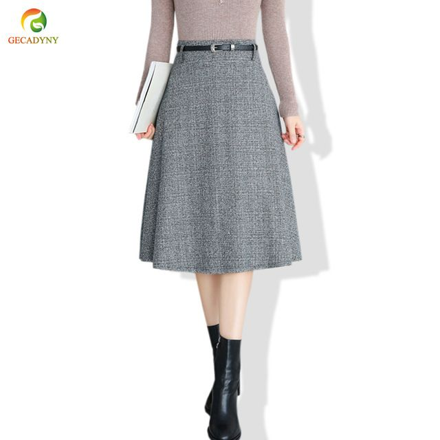 4d1a80d4c85191 Elegant Woolen Skirt Women Bottoming Midi Skirt 2018 Autumn Winter New A  Line High Waist Plaid Pleated Big Swing Skirts