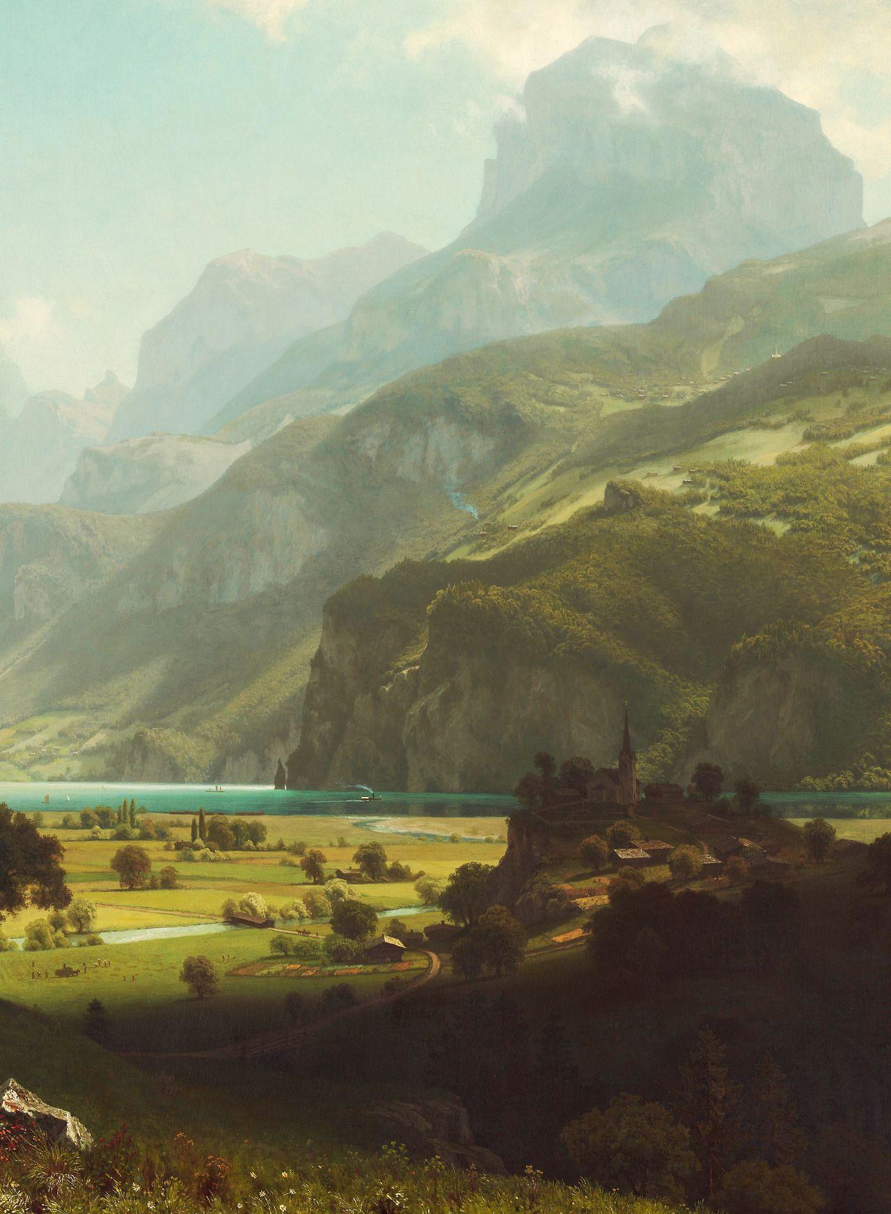 jaded-mandarin: Albert Bierstadt. Lake Lucerne, 1858. Detail ...