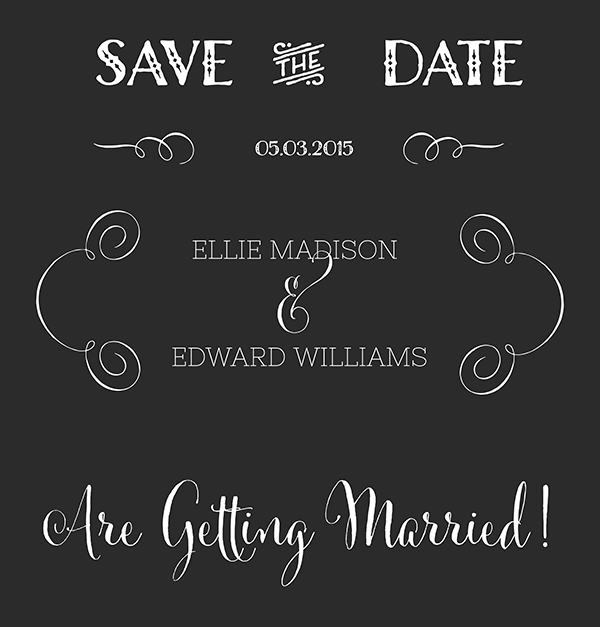 Save The Date Calligraphy In Chalk Board Style Free Graphic Design Free Clip Art Design Freebie