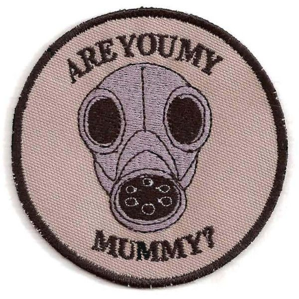 Doctor Who Are You My Mummy Gas Mask Patch ($9) ❤ liked on Polyvore