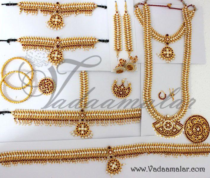 66e82e4de0 Indian Bridal Temple Jewellery Set Traditional 10 piece ornaments for Saree  & Lehenga