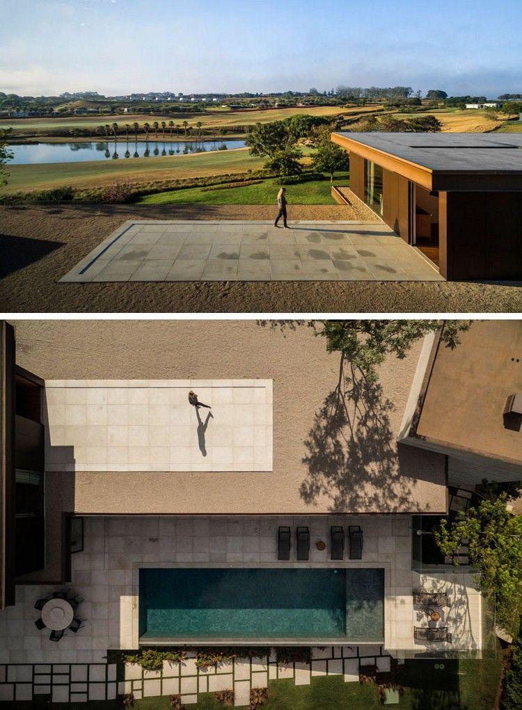 dallage extérieur en pierre naturelle, piscine moderne et bassin d - pierre de dallage exterieur