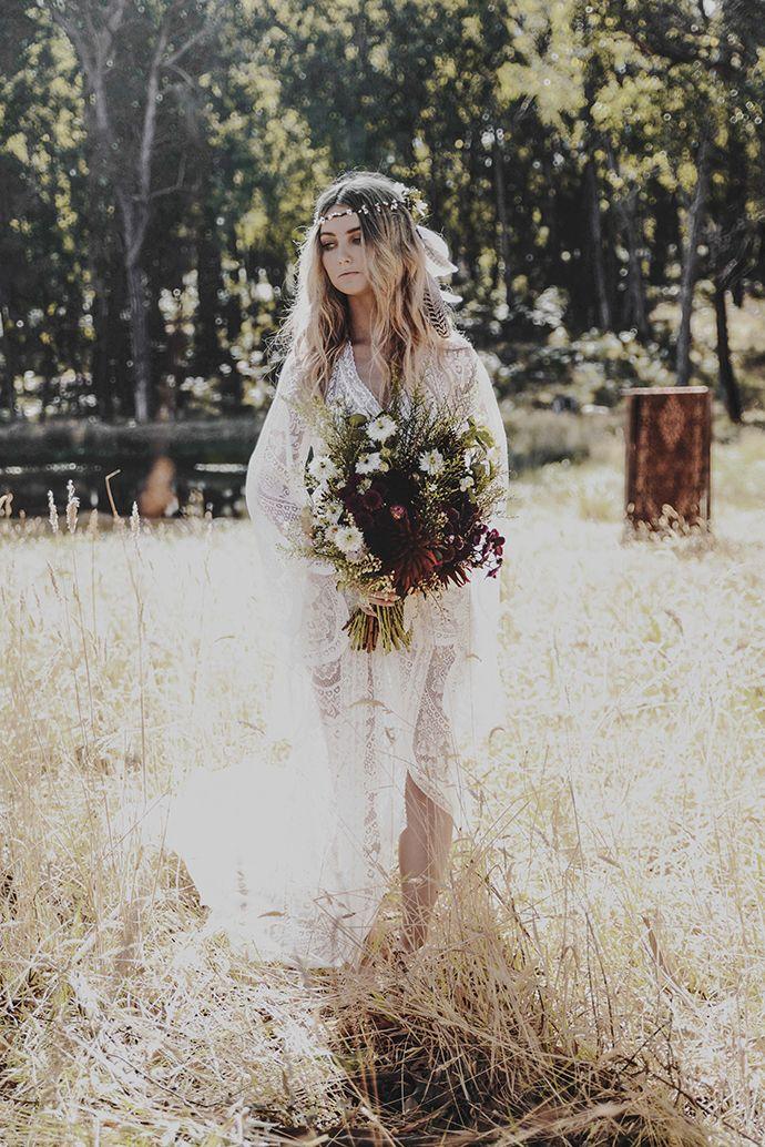 Free Love Hippie Hochzeitskleid Hochzeit Brautpaar Fotos