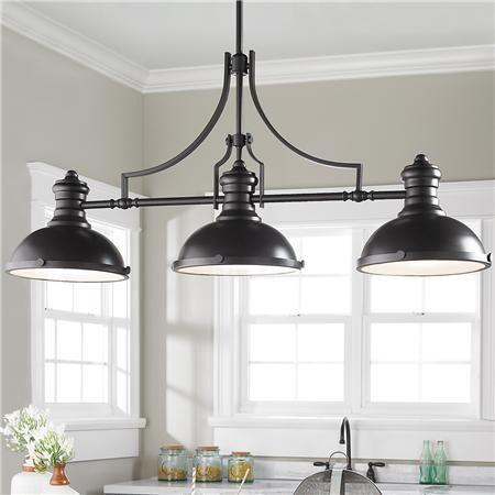 Craftsman Period Island Chandelier 3 Light Dining Room