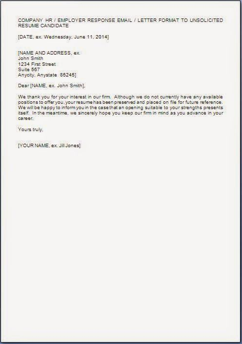 resume cover letter unsolicited resume cover letter