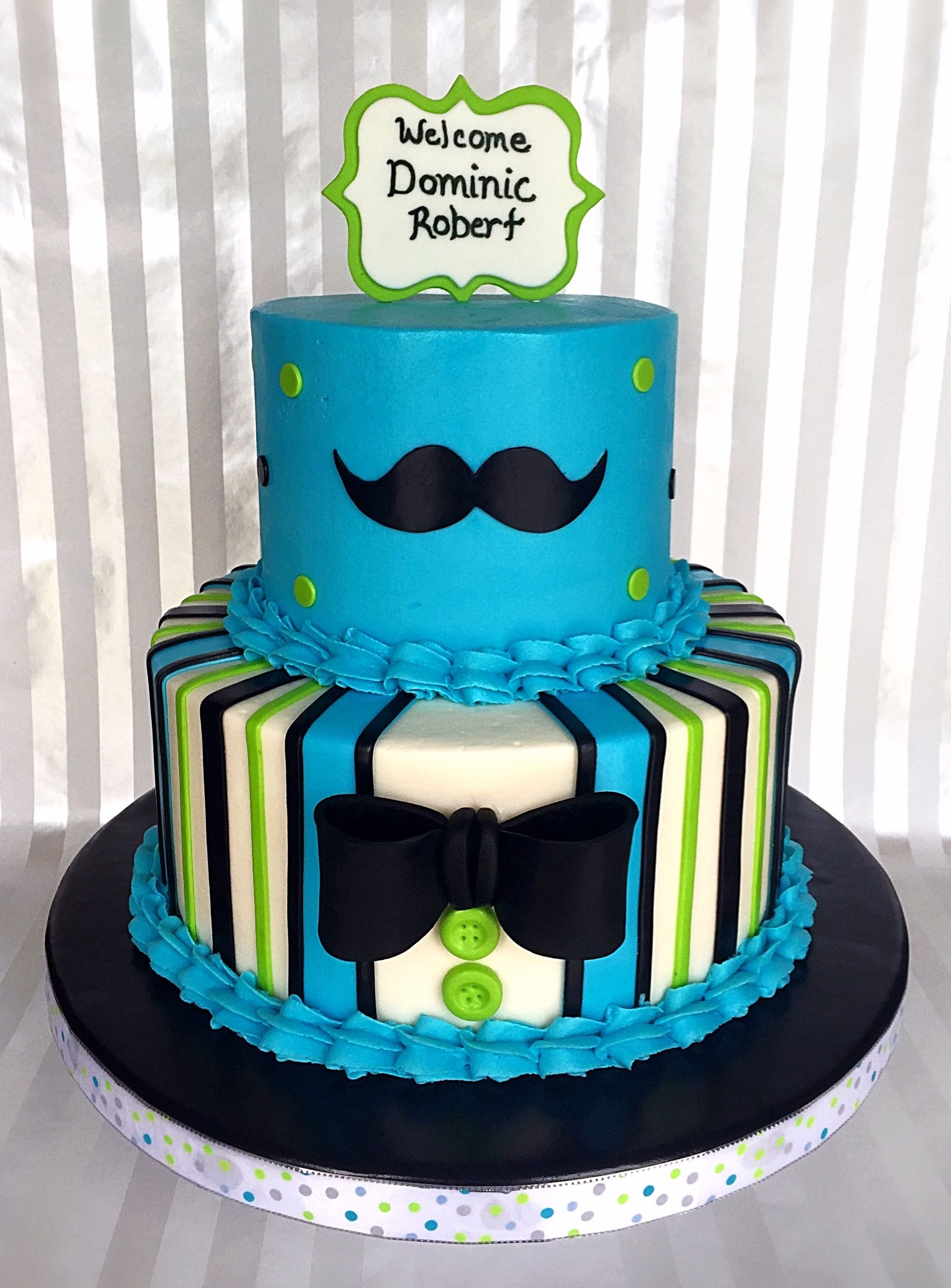 Superb Bow Tie And Mustache Baby Shower Cake