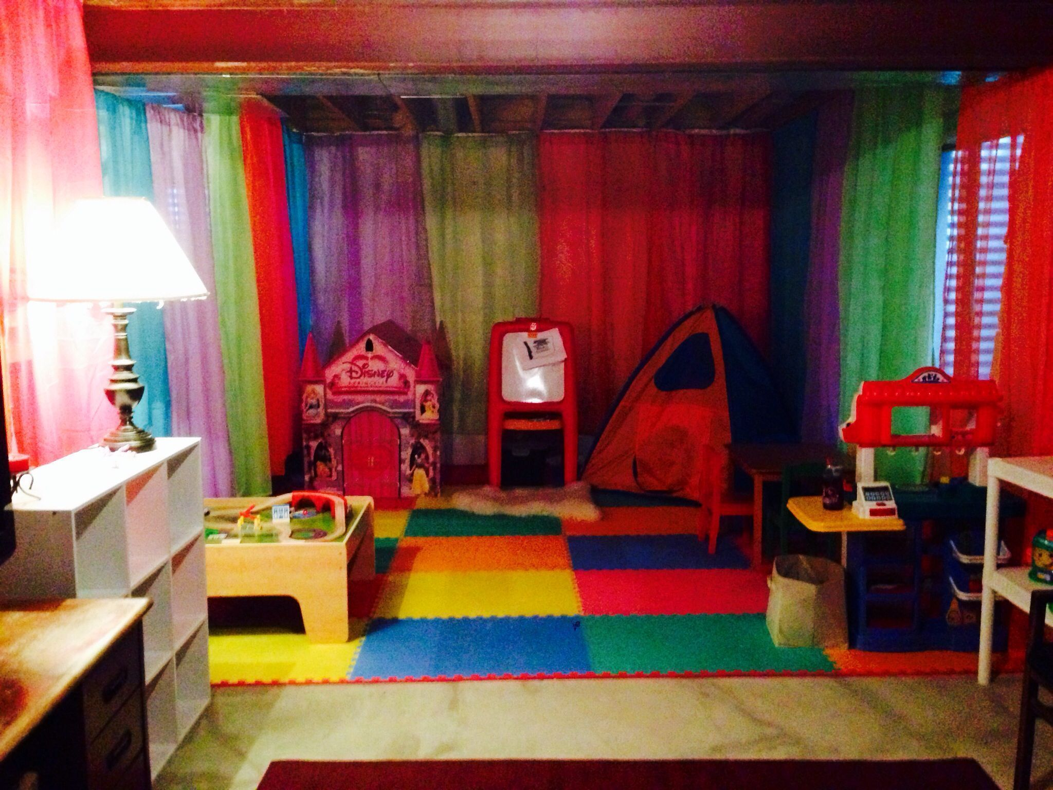 finished basement ideas pinterest (With images)   Unfinished basement playroom. Kids basement. Kids bedroom remodel