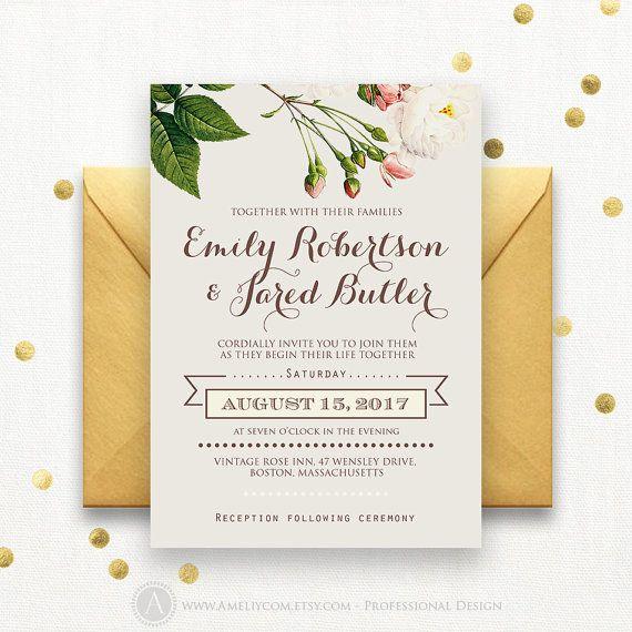 Wedding Invitation Printable Grey Sweet Pink Roses Rustic Spring - Garden wedding invitations templates