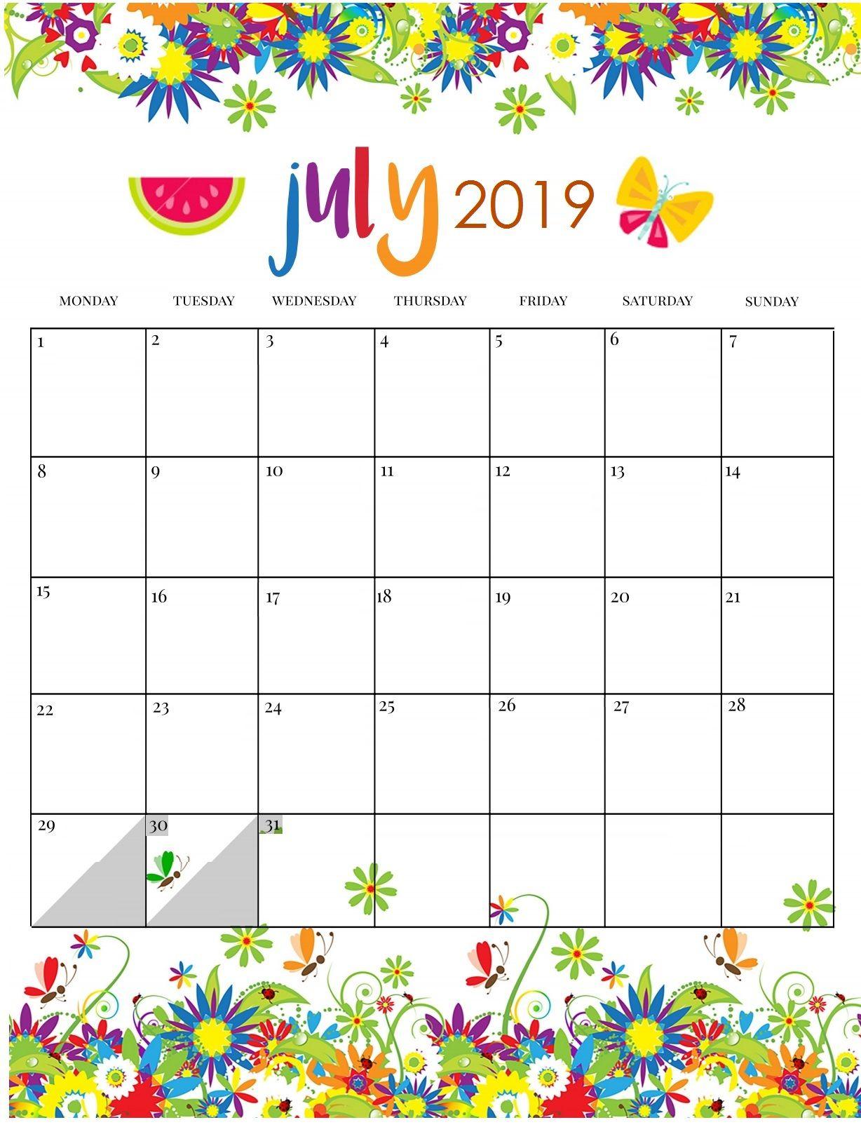 Cute July 2019 Calendar Pink Designs Floral Wall Calendar With