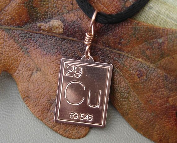 copper periodic table pendant atomic symbol for copper science necklace science jewelry chemistry geek - Au Pendant Periodic Table