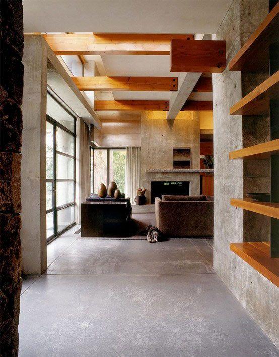 Concrete Home Construction With Wood Elements Contemporary House Design Contemporary House House Design