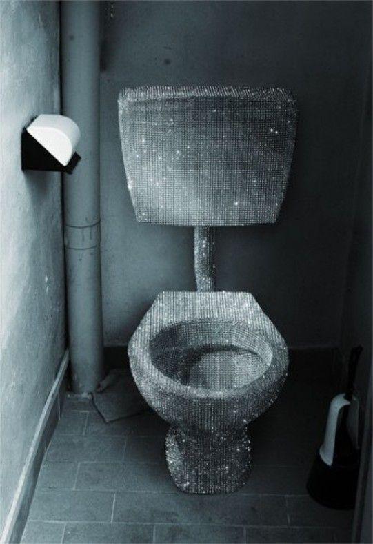 24 Totally Bizarre Decorated Toilets Glitter Bathroom Toilet