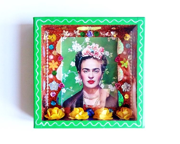 d corations murales niche carr e frida kahlo vert est une cr ation orginale de casa frida sur. Black Bedroom Furniture Sets. Home Design Ideas