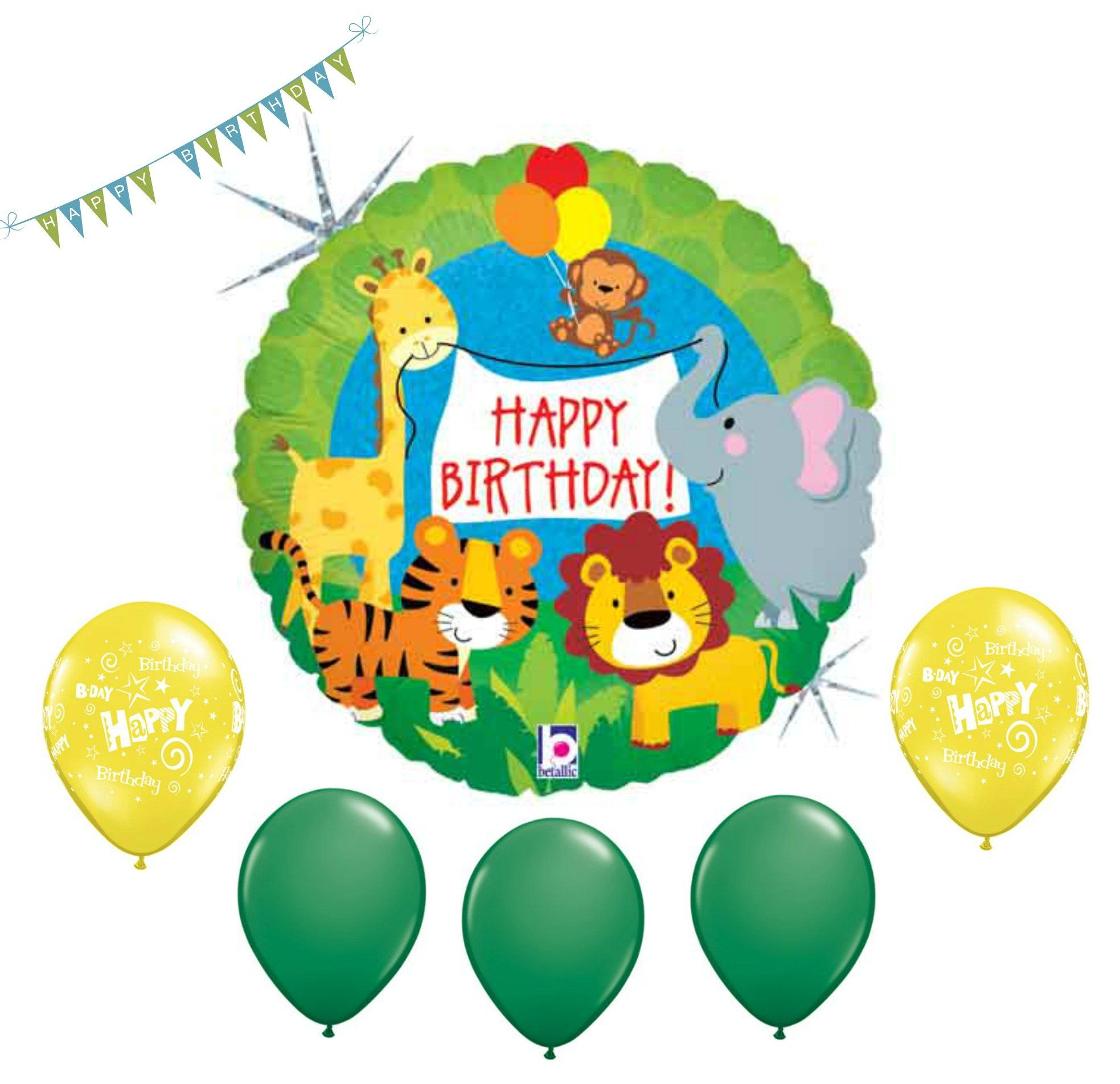 Sale Jungle Birthday Balloon Safari Bouquet 6 Balloons Lion Tiger Giraffe Monkey Elephant Kids Party Zoo Circus