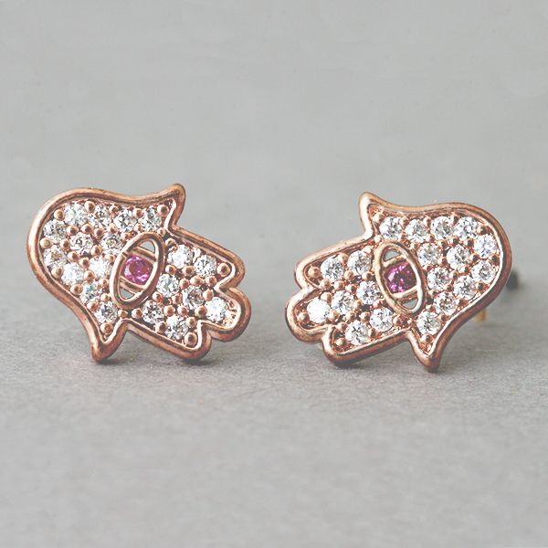 Ruby Rose Gold Evil Eye and Hamsa Earrings Stud from Kellinsilver.com – Evil Eye and Hamsa Jewelry, Hamsa and Evil Eye Earrings