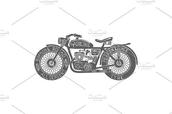 Vintage Motorcycle Hand drawn by idimair on @creativemarket