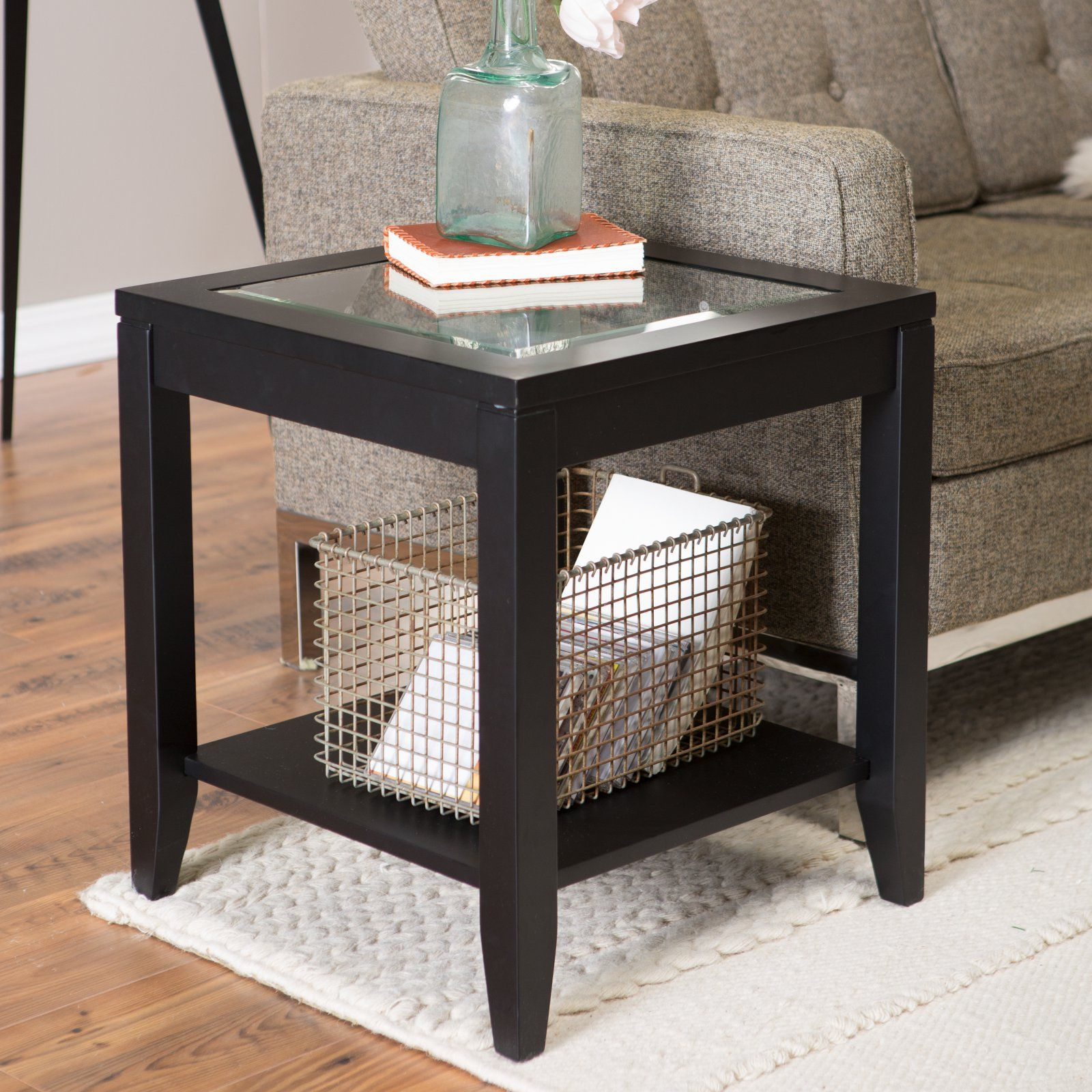 Shelby Gl Top End Table With Quatrefoil Underlay In 2019