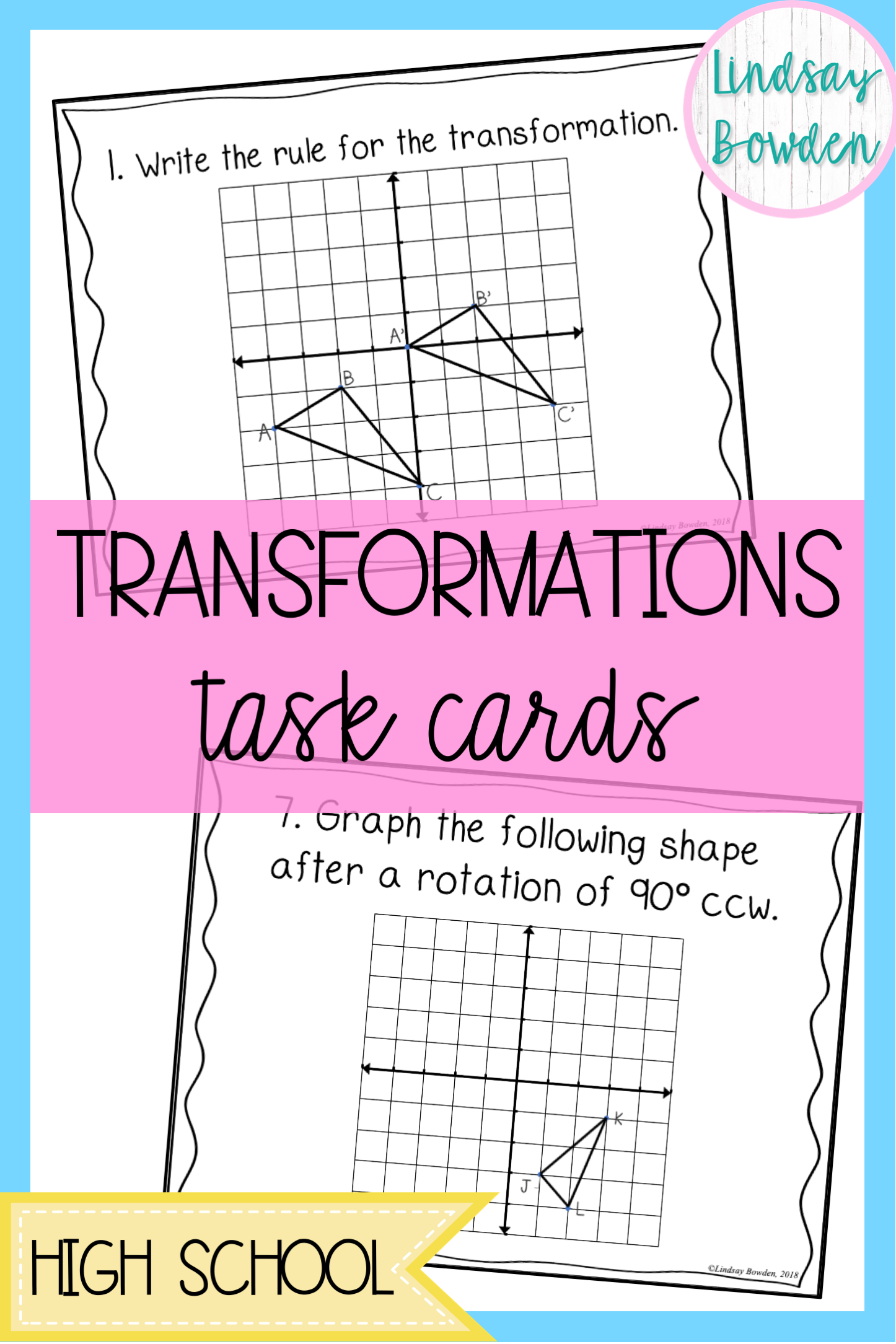 Translations Reflections Rotations Task Cards Geometry Activities High School Transformations Math Task Cards [ 2169 x 1446 Pixel ]