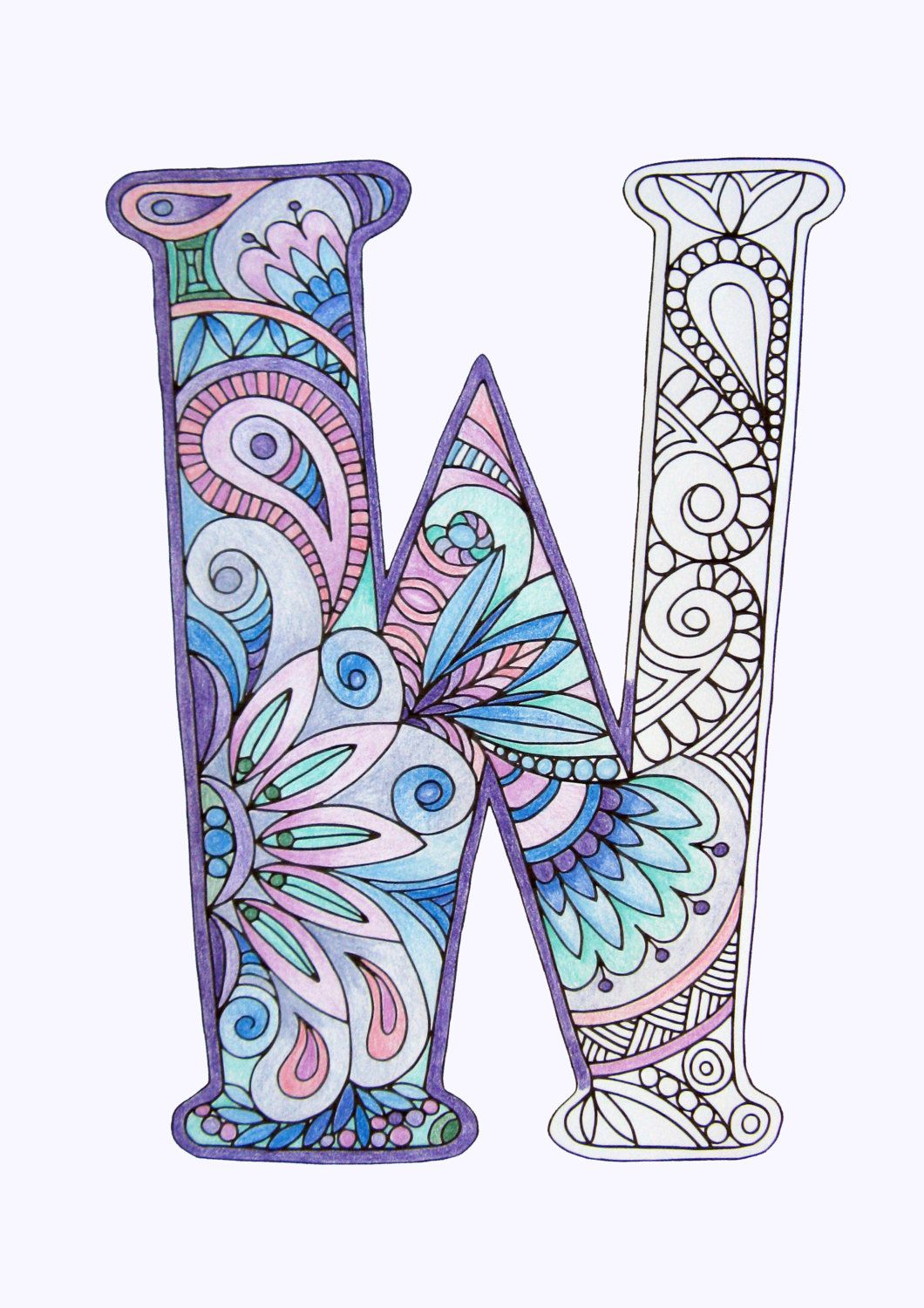 Adult Colouring Page Alphabet Letter W