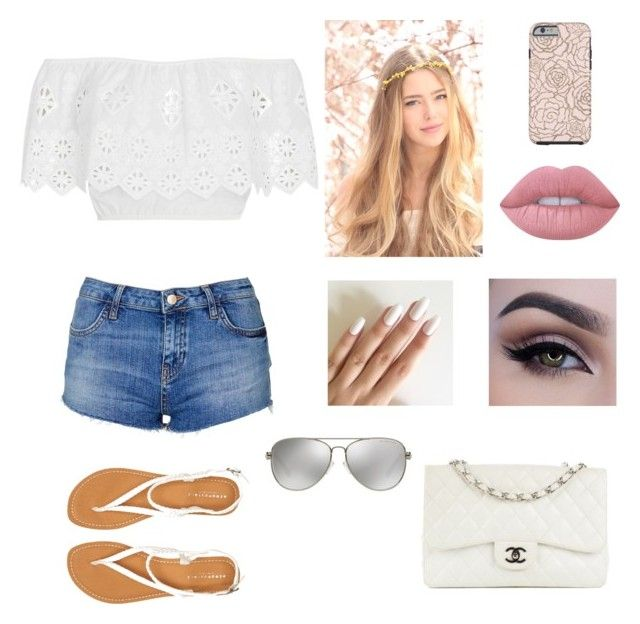 """""""Cut offs"""" by dancinginthemidnightsun ❤ liked on Polyvore featuring Topshop, Miguelina, Aéropostale, Lime Crime, Chanel, Michael Kors, jeanshorts, denimshorts and cutoffs"""