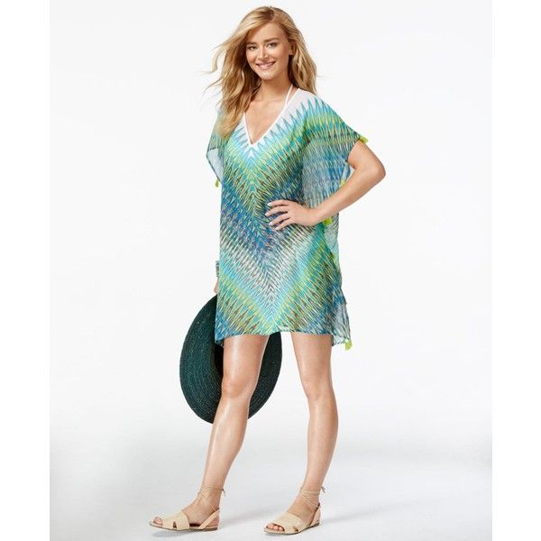 073ce96bab3e4 Bleu by Rod Beattie Printed Chiffon Poncho Cover-Up Women's Swimsuit ($95)  ❤ liked on Polyvore featuring swimwear, cover-ups, twilight multi, swimsuit  ...