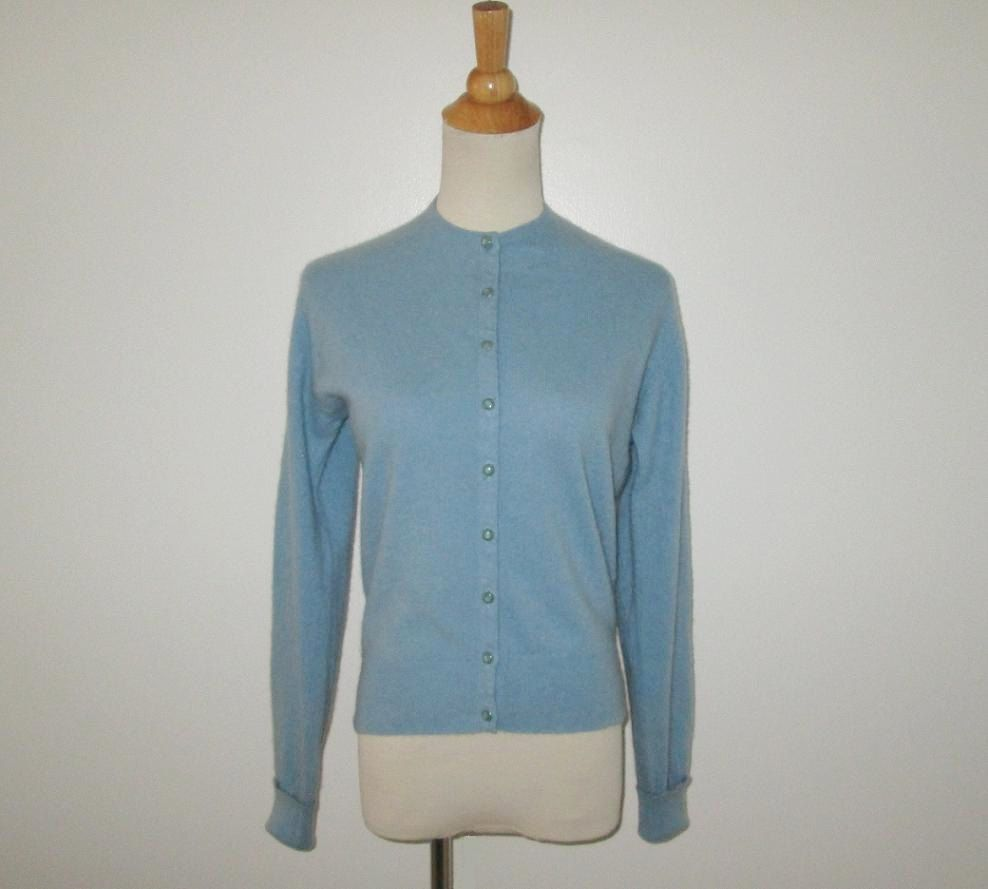 Vintage 1950s Sweater / 50s Blue Cashmere Sweater / 50s Cashmere ...