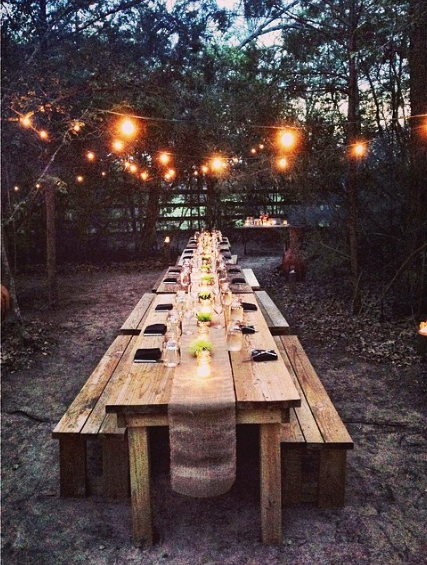 Outdoor Farm Table And Lights