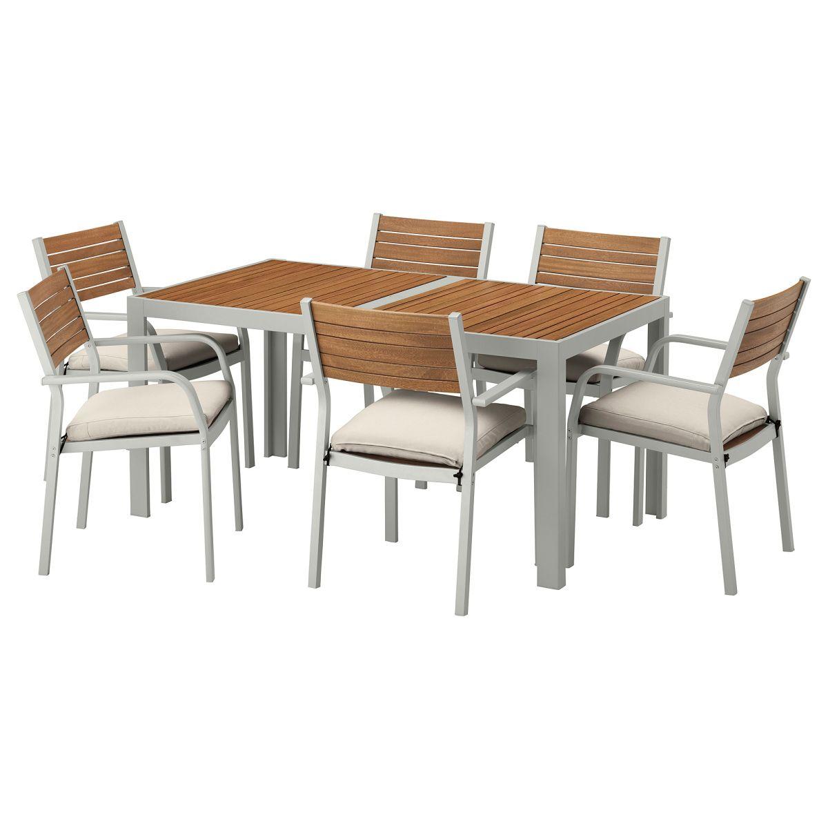 SJÄLLAND, Tisch+6 Armlehnstühle/außen, hellbraun, beige Jetzt ...